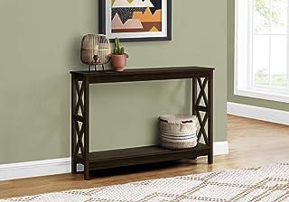 Monarch Specialties Entryway Hallway Sofa X-Frame Design Accent Storage Shelf for Livingroom Long Narrow Console Table, 48 L, Espresso