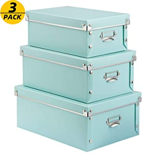 SEEKIND Foldable Storage Box with Lids and Handles, 3 in 1 Set, Plastic, for Clothes, Toys, Cosmetic, Books.