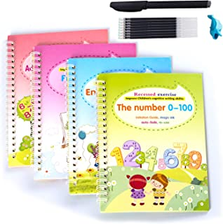 Magic Practice Copybook for Kids, 4 Pcs English Study Workbooks, Reusable Children's Calligraphy Letter Tracing Paper Math...