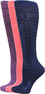 Cowgirl Boot Sock 3 Pair, Assorted Colors, W 5-7/M 3.5-5.5
