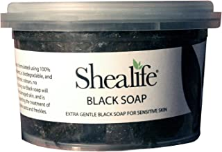 250g Tub of African Black Soap, traditionally made using Unrefined Shea Butter, Cocoa Pod Ash, & Virgin Coconut Oil. Contains No SLS, Detergents & Parabens. Ideal for very Sensitive Skin types, supplied direct by Shea Life Skincare. 250g Tub.