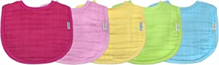 green sprouts Muslin Bibs made from Organic Cotton (5 pack)| 4 absorbent layers protect from sniffles, drips, & drools | 100% Organic cotton muslin, Adjustable snap closure, Machine washable