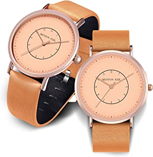 Wooden Couple Watch for Women Men Friendship Relationship 30M Waterproof Classic Quartz Analog Rose Gold Wrist Watches with Brown