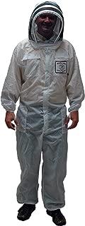 Mann Lake CV215 Nylon Honey Maker Bee Suit with Veil, White, Large
