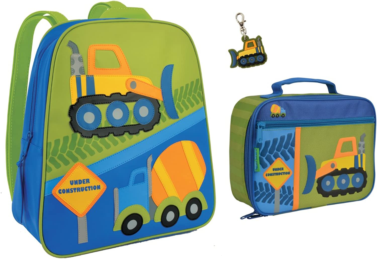 Stephen Joseph Boys Construction Backpack and Lunch Box with Zipper Pull