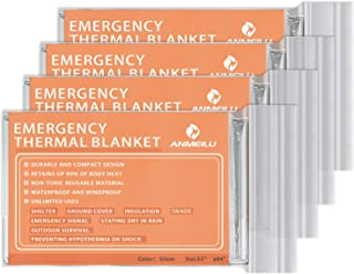 ANMEILU Emergency Mylar Thermal Blankets -Space Blanket Survival kit Camping Blanket (4-Pack). Perfect for Outdoors, Hiking, Survival, Bug Out Bag ,Marathons or First Aid