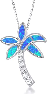 Sterling Silver Created Blue Opal & CZ Palm Tree Pendant with 18
