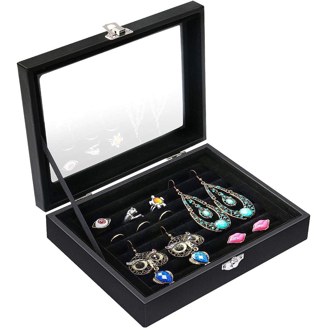Valdler Velvet Clean Lid 7 Slots Ring Earrings Trays Showcase Display Jewelry Organizer Black