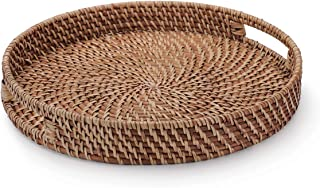 YANGQIHOME 13.8 inches Rattan Round Bread Serving Basket Vintage Style Handcrafted Serving Tray Platter with Cut-Out Handles, Storage Organizer Basket