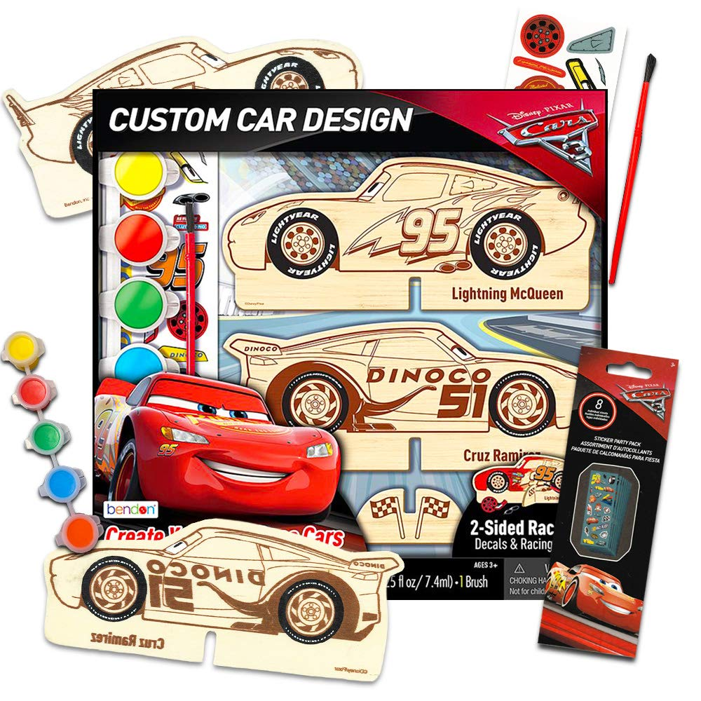 Disney Pixar Cars Wood Model Kit ~ Lightning McQueen Wooden Craft, Color, Paint, Decorate Your Own Race Cars Activity Set (Disney Cars Model): Amazon.es: Juguetes y juegos