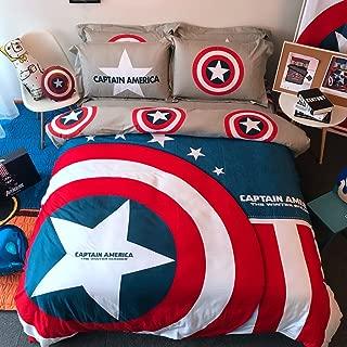 Casa 100% Cotton Kids Bedding Set Boys Captain America Duvet Cover and Pillow Cases and Flat Sheet,Boys,4 Pieces,Queen