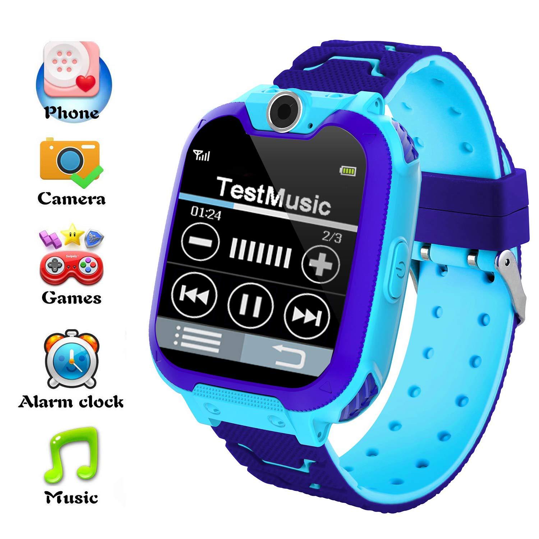 Hangang Reloj Inteligente para Niños Niña La Musica y 7 Juegos Smart Watch Phone 2 Vías Llamada Despertador de Cámara para Reloj Niño y Niña 3-12 años(Azul): Amazon.es: Electrónica