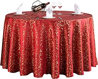 Ufatansy Uforme Elegant Round Tablecloth Fashion Jacquard Damask Pattern Durable Woven Fabric Fade Resistant Large Round Tablecover with Skirt for Parties, Lavish Wedding Tablecover (120 inch, Red)