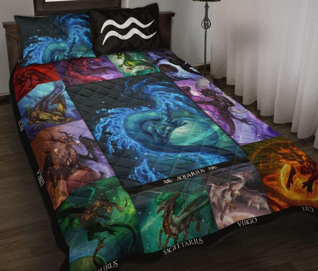 Animer and price revision Personalized Aquarius Dragon Zodiac Portland Mall Sign Gift Your Quilt for Lo