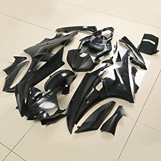 XFMT Motorcycle Black Unpainted ABS Plastic Fairing Cowl Bodywork Set Compatible with YAMAHA YZF 600 R6 YZFR6 2006 2007