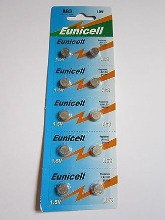 Eunicell AG3 Lot de 10piles alcaline bouton Type G3 LR41 LR41SW LR736 LR736SW SR41W 384 392
