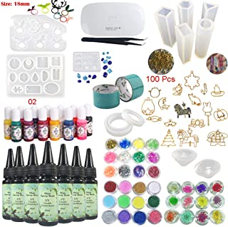 UV Epoxy Resin Crystal Clear for Craft Jewellery Making Kit 7*30ml with Pigments Moulds Bezels, 36 Decorations Embellisments & Tweezers & Light, for Bracelets Pendants Diamonds Earrings Rings Necklaces