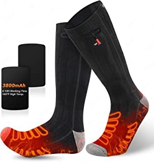 JINHODY 2021 Upgrade Heated Socks, Rechargeable Electric Heated Thermal Warming Socks for Men Women, 3 Heating Settings Fo...
