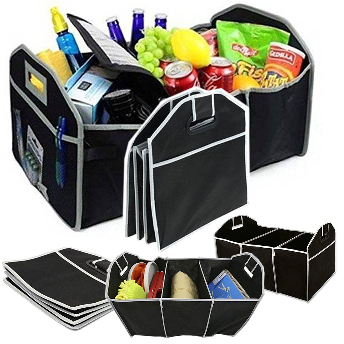 2 IN 1 HEAVY DUTY COLLAPSIBLE CAR BOOT ORGANISER FOLDABLE SHOPPING TIDY STORAGE