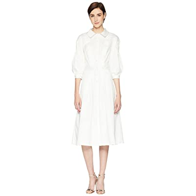 Zac Posen Cotton Poplin 3/4 Sleeve Dress (White) Women