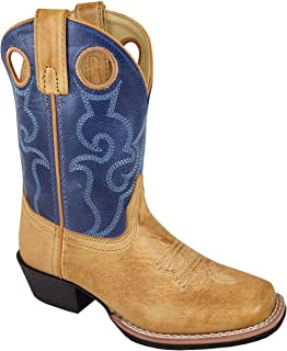 Smoky Mountain Childrens Clint Leather Embroidered Pull Holes Square Toe Bomber Tan/Blue Western Cowboy Boot