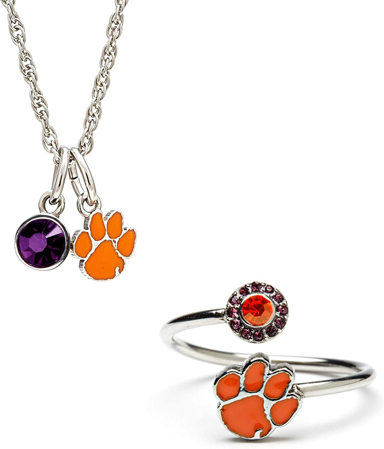 Stone Armory | Gift Set-Love Clemson Ring and Necklace | Clemson University Ring | Clemson University Necklace | Officially Licensed Clemson University Jewelry | Clemson Gift