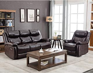 Harper & Bright Designs Recliner Sofa Leather Sofa Set Manual Reclining Sofa Seat for Living Room Recliner Chair and Reclining Couch