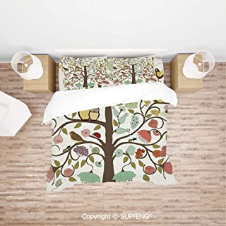 SCOXIXI Bed Cover Set Retro Style Tree with Flowers Bugs and Bees Owl Birds Insects Vintage Decorative (Comforter Not Included) Soft, Breathable, Hypoallergenic, Fade Resistant