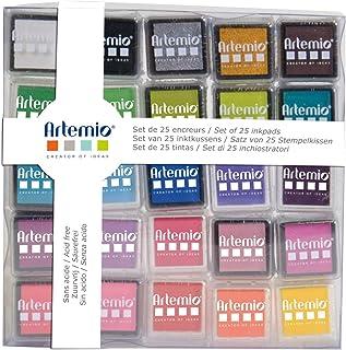 Artemio 10005112 Set de 25 Encreur, Encre, Multicolore, 7,8 x 1,5 x 10,8 cm