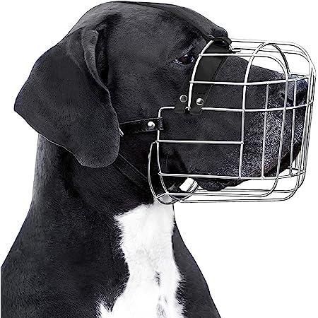 BronzeDog Metal Wire Basket Dog Muzzle Great Dane Mastiff Leather Adjustable Muzzles for Large Dogs