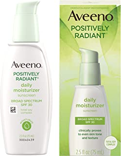 Aveeno Positively Radiant Daily Facial Moisturizer with Broad Spectrum SPF 30 Sunscreen & Total Soy Complex for Even Tone ...