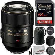 Nikon AF-S VR Micro-NIKKOR 105mm f/2.8G IF-ED Lens with Starter Bundle; Includes: SanDisk Extreme PRO 64GB Memory Card, and More