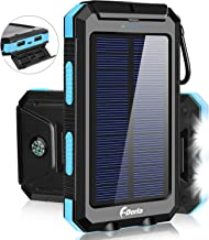 Solar Charger,F.DORLA 20000mAh Portable Outdoor Waterproof Mobile Power Bank,Camping External Backup Battery Pack Dual USB 5V 1A/2A Output 2 Led Light Flashlight with Compass for Tablet iPhone Android