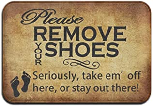 Our Iris Please Remove Your Shoes Doormat Door Mat Outdoor/Indoor Non-woven Fabric Non Slip Gate Rug 23.6(L) X 15.7(W)