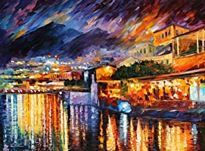 Italy Oil Painting Violet Fine Art On Canvas By Leonid Afremov Studio - Naples, Vesuvius
