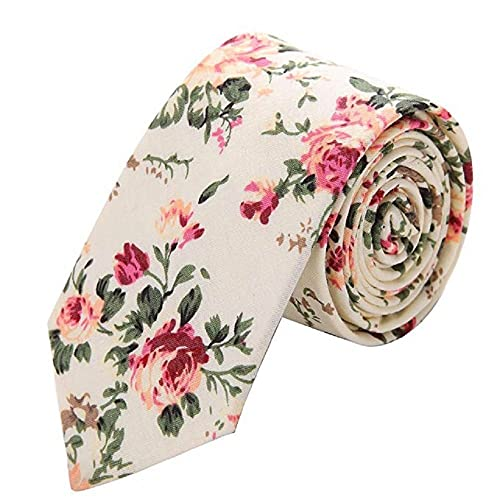 4981c329588e Men's Skinny Floral Tie, Floral Print Cotton Tie, Great for Weddings, Groom,