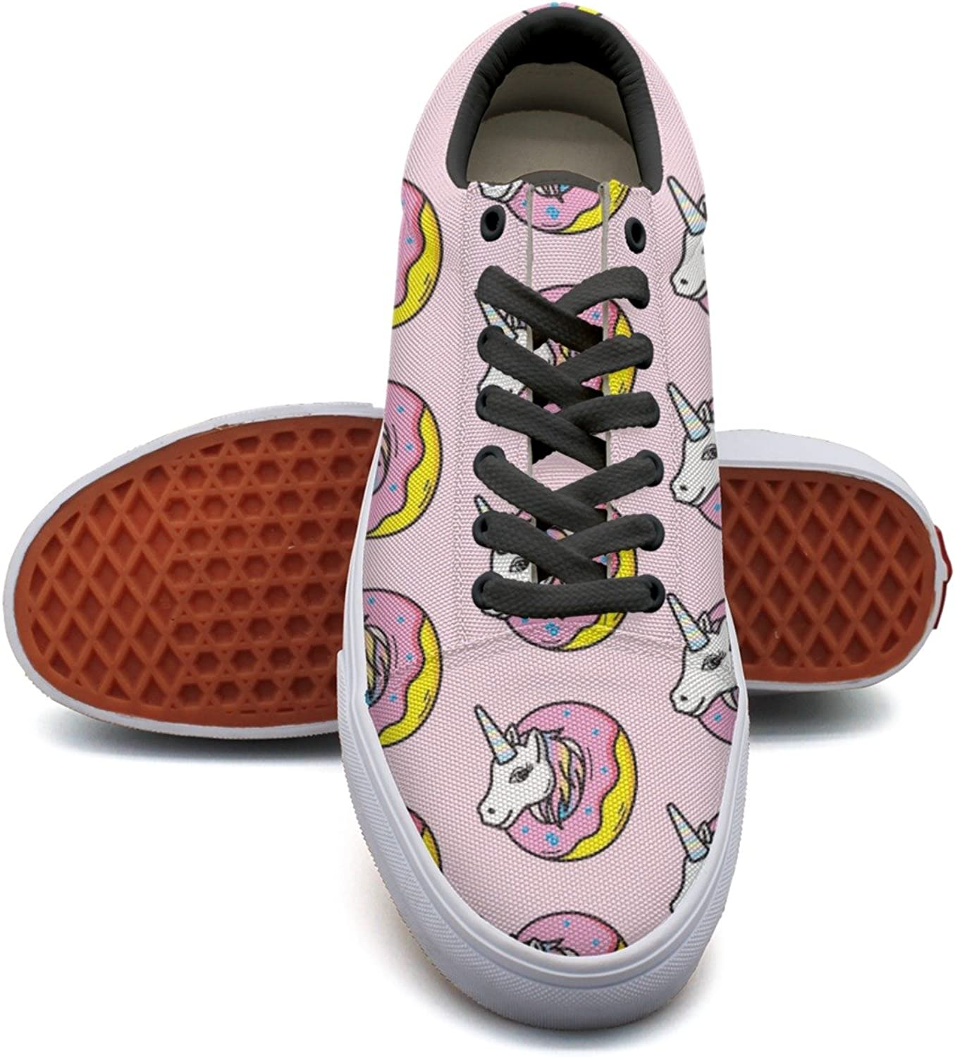 Pink Unicorns In Donuts Women's Casual Sneakers shoes Canvas Sports Cute Original