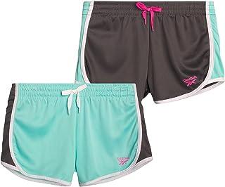 Reebok Girls' Active Shorts – Lightweight Athletic Mesh Gym Shorts (2 Pack)