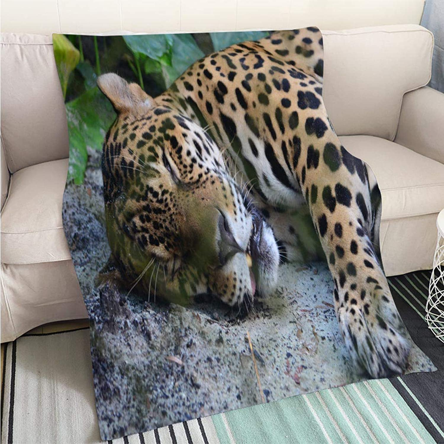 Art Design Photos Cool Quilt A Jaguar in The Amazon rain Forest Iquitos Peru Hypoallergenic Blanket for Bed Couch Chair