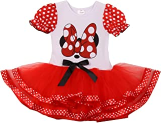 Little Girls White Red Dot Minnie Mouse Tutu Dress 2T-6