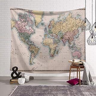 Morbuy Tapiz Pared de Creativo Mapa del Mundo Decoración Tapices Mapa del Mundo Impreso Tapicería Cubierta del Sofa Mantel...