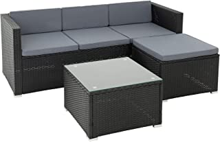 ESTEXO rotan lounge zitgroep polyrotan tuinmeubelen set bank 3-zits rotan meubels sofa set eettafel tuinset balkon set zwart