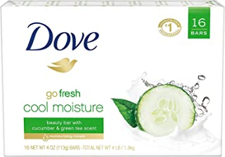 Dove go fresh Beauty Bar for Softer Skin Cucumber and Green Tea More Moisturizing than Bar Soap 3.75 oz 16 Bars
