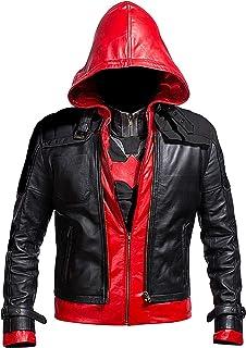 سترة رجالي من الجلد الصناعي مع قلنسوة حمراء من Lasumisura Replica Style + صدرية