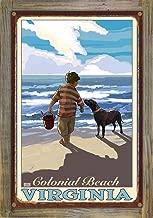 Northwest Art Mall Colonial Beach Virginia Boy Dog East Rustic Metal Print on Reclaimed Barn Wood by Joanne Kollman (12