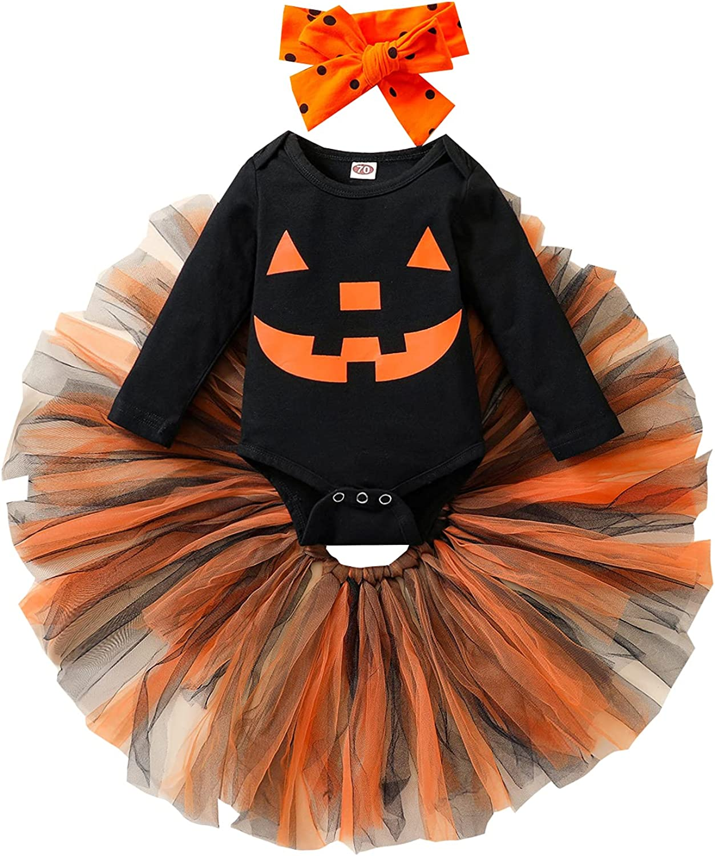 3Pcs Halloween Outfits for Newborn Baby Girl Pumpkin Printed Romper Suit Tulle Tutu Skirt Set Headband Cloth Set