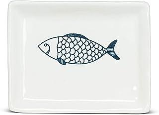 Abbott Collection 27-CORFU-550 Small Rectangle Fish Plate, White/Blue
