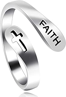 Uloveido Adjustable 925 Sterling Silver Cross Faith Ring for Women and Men, Christian Finger Open Rings, Religion Jewelry Y531