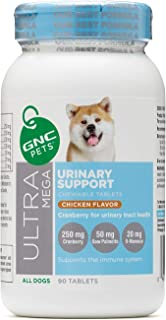 GNC Pets Ultra Mega Urinary Support Chewable Tablets Supplement for Dogs, 90 Count - Chicken Flavor   Made with Cranberry ...