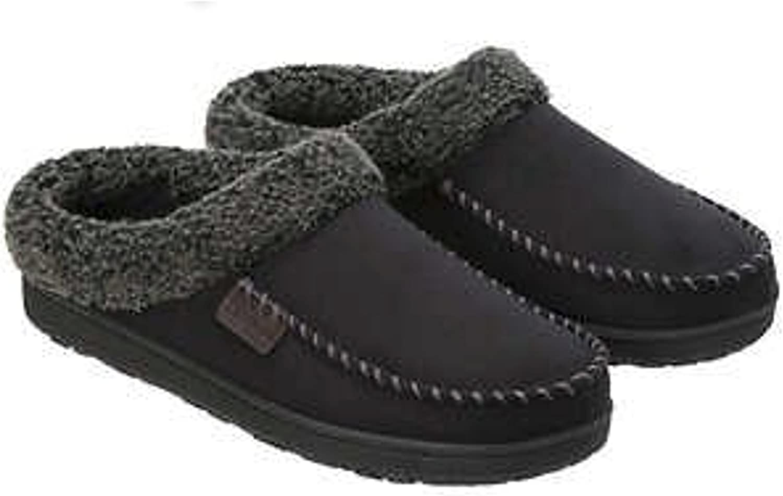 Dearfoams Mens Memory Foam Slippers Indoor Out Door Medium 9-10   Black